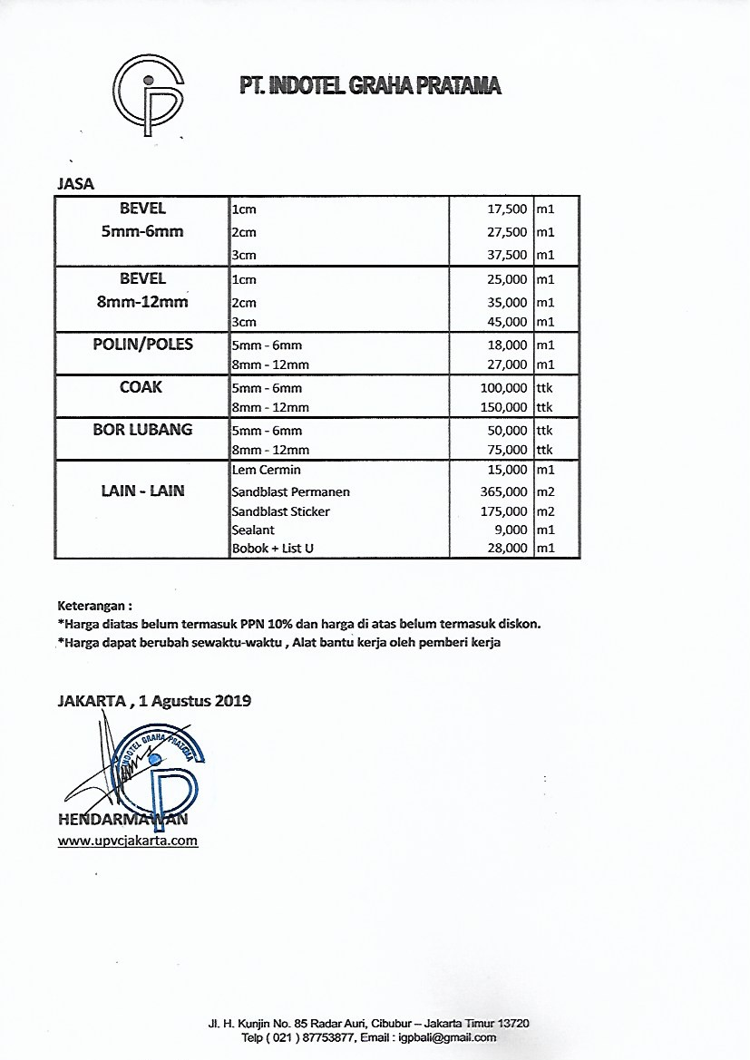 Price List Upvc Jakarta Murah 0818 9800 95